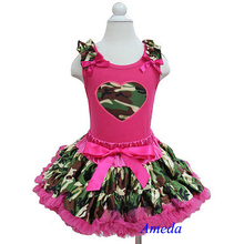 Girls Camo Hot Pink Heart Hot Pink Tank Top Pettitop with Camo Pettiskirt 2 pcs Set Outfits 1-7Y