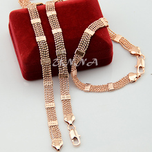 8mm Womens Lady Men  Rose Gold Filled Necklaces Set  Bead Chain Bracelet Set Jewelry (NO RED BOX)