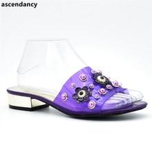 New Arrival Elegant Women Shoes Wedding Woman Low Heels Comfortable Slip On Sdandals Slipper