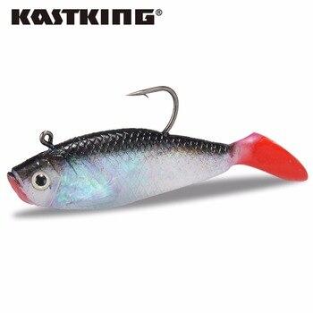 Kastking nueva caliente cabeza de plomo de pesca señuelos suaves pesca larga cola sharp gancho cebo suave 9.80 cm 19.08g 3 unids/lote para el lago de pesca