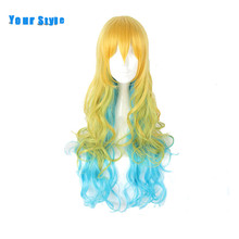 Your Style Synthetic Long Wavy Rainbow Cosplay Wigs Women Orange Yellow Blonde Blue Synthetic Hair High Temperature Fiber(China)