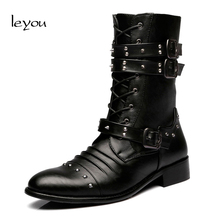 Leyou Men Formal Dress Boots Heels Mens Military Mid Calf Boots Western Cowboy Boots Mens Black Autumn Winter Shoes Martins(China)