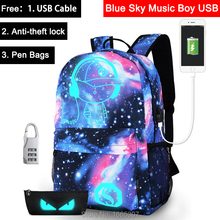[Do Drop Shipping] Anime Starry Music Boy in Sky Luminous Printing Men Women Teenager School Backpacks with USB + Pen Bag + Lock