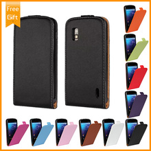 For LG Google Nexus 4 E960 case Genuine Real flip luxury Leather 10 colors cell phone cases pouch cover free shipping+Gift(China)