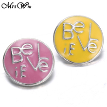 1pcs New Snap Pink Enamel Believe 18MM Snap Jewelry Buttons Fit Women Snap Bracelets