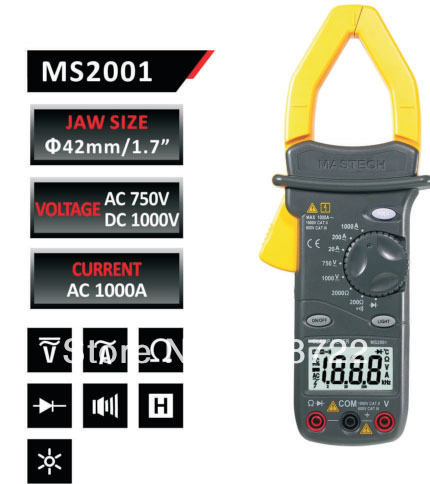 FREE SHIPPING MASTECH AC/DC DIGITAL CLAMP Multimeter measure Current Voltage Resistance Electronic Tester Meter MS2001<br>