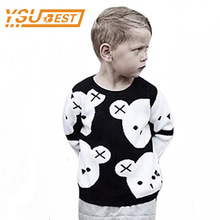 New 2017 Baby Girls Boys Knitted Sweaters 1-6Yrs Toddler Cotton Pullovers Bear Black White Bear Children's Winter Top Clothes