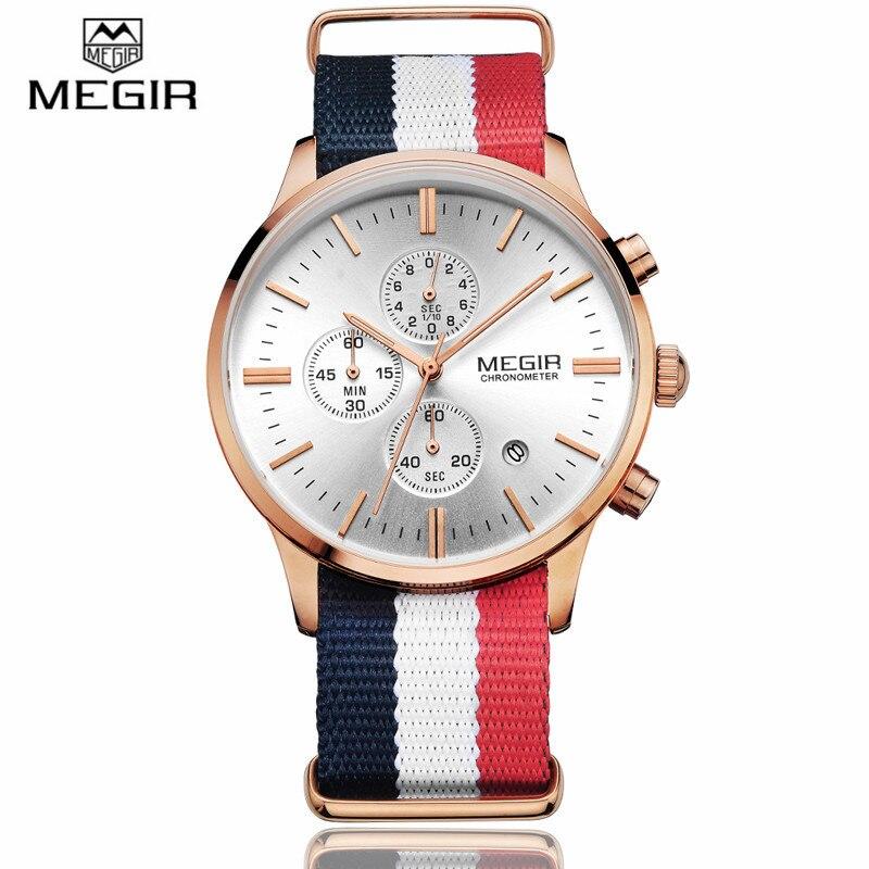 Megir Mens Chronograph Canvas Wrist Watches Men Brand Luxury Date Quartz Casual Analog Sport Watch Male Wristwatch Montre Homme<br>
