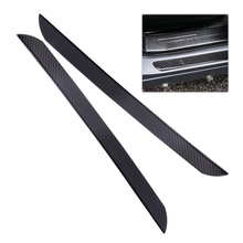 DWCX 2pcs Black Carbon Fiber Door Sill Anti Scratch Cover Car Styling Scuff Plates Welcome Pad Protector(China)