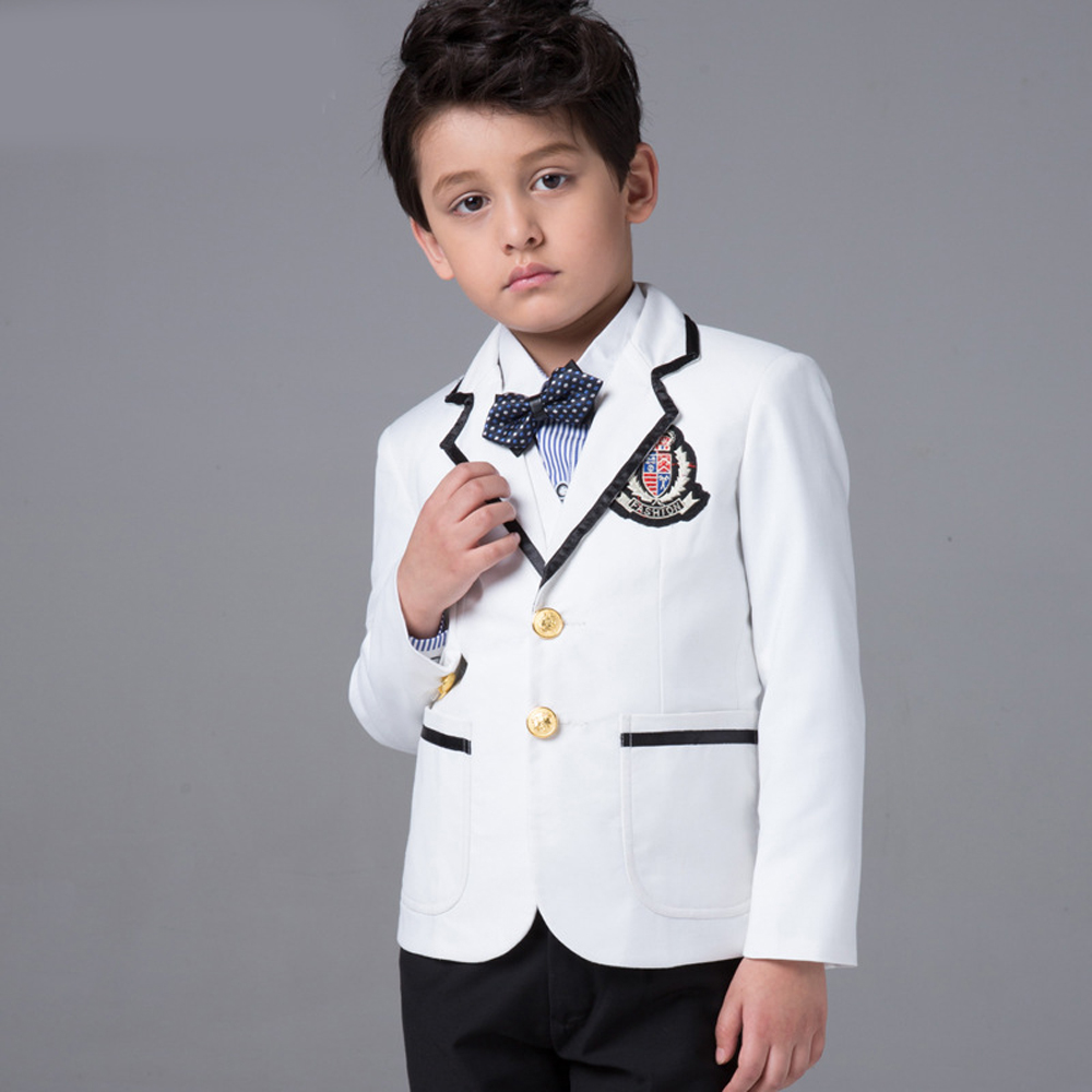 3-15T Boys Communion Suits White Blazers Black Pants Sets Childern Groom Formal Prom Party Performance Costume Wedding Suit New<br><br>Aliexpress