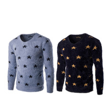 New Arrivals Fashionable Design Casual Men Five Point Star Decoration Sweater Trendy Round Neck Slim Type Knitted Shirt Tops