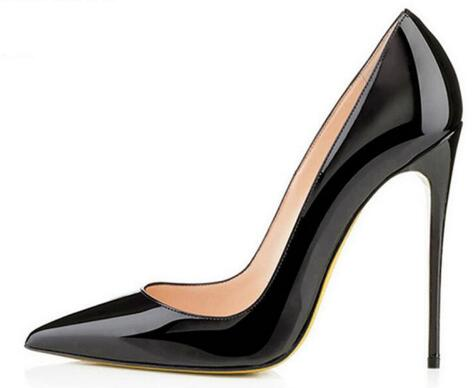 Discount Brand 12CM High Heel Shoes Woman Sexy Pointed Toe Wedding Bridal Shoes Black Nude Heels Women Pumps Chaussure Escarpins<br>