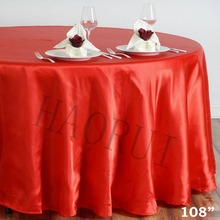 10pcs Customized 108'' Red Round Dining Table Cloths Satin Tablecloth for Wedding Party Decoration Restaurant Free Shipping