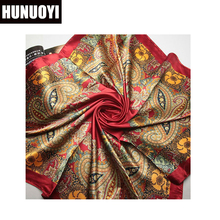 France Euro Brand Style 100% Twill Silk Square Scarf Muslim Hijab New Design Luxury Brand For Women Headband Shawl 90*90cm SJ22