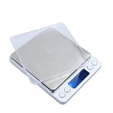 EWS High Accuracy Mini Electronic Digital Platform Jewelry Scale Weighing Balance with Two Trays Portable 2000g/0.1g Counting