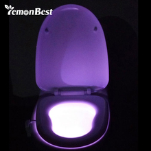 LemonBest Colorful LED Night Light Motion Sensor Automatic Toilet Hanging Light Bowl with Color Setting Battery-Operated