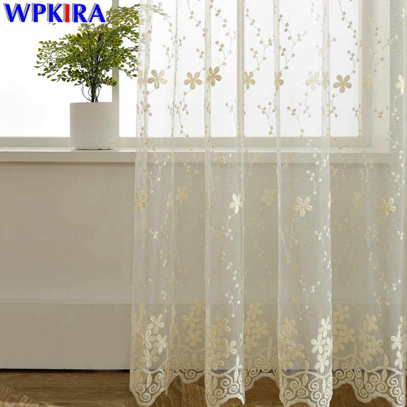 Lace Curtain Sheer Embroidered Tulle Curtains Living Room Bedroom Window Curtain Girls Pink White Blue Curtain Tulle WP058-30