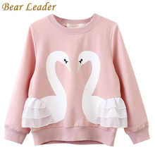 Bear Leader Girls T-Shirt 2017 Autumn Brand Baby Girls Full T-Shirt Cute Cartoon Bird Lace Shirts Children Clothing Blouse(China)