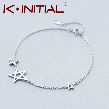 Kinitial 1Pcs 925 Silver Zircon Starfish Bracelets Jewelry Geometric Chain Charm David Star Bracelet Bangle for Women Bijoux