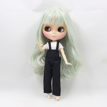 blyth doll joint doll,Bangs hairstyle, mint pink color,Change for you diy makeup face,factory blyth nude
