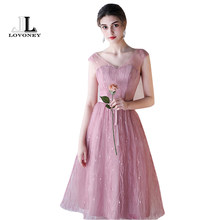 LOVONEY 6 Designs Bridesmaid Dresses Short Tea Length V Neck Tulle Wedding Party  Gowns Vestido De d2e341e2bd69