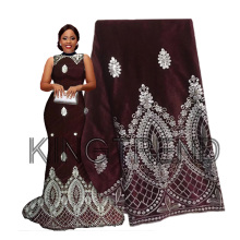 Lace-Fabric George-Wrapper Velvet Nigerian African High-Quality Multi-Color with Sequin