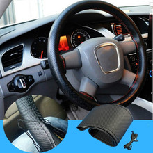 1pcs Black DIY Car Steering Wheel Cover With Needles and Thread Genuine Artificial leather for car decoration accessories