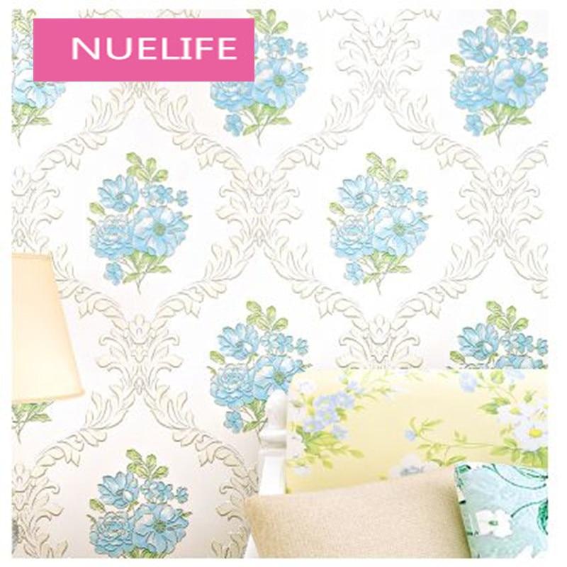 0.53x9.5m 3D Pastoral Nonwovens Wallpaper Romantic Bedroom Living Room Restaurant Bedside TV Background Wallpaper N2<br>