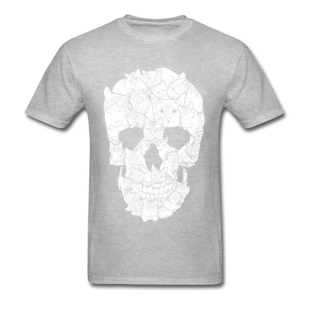 Sketchy Cat Skull Wholesale Short Sleeve Camisa T Shirt 100% Coon O-Neck Men T Shirt Casual Tee-Shirt Summer Autumn Sketchy Cat Skull grey