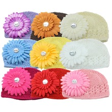 9 colours New Baby Infant Hand Crochet Beanie Hat Daisy Flower baby kid caps little girl headwear children accessories10pcs/lot
