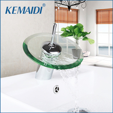 KEMAIDI RU New Arrival Waterfall Faucets Bathroom Basin Mixer Bathroom Faucets Single Handle Faucet Glass Waterfall Tap(China)