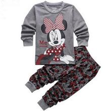 New Arrive Children Baby Girl's Kids Long Sleeve Pajamas Sets Minnie Elsa Anna Girls Sleepwear Homewear Pyjamas Suits