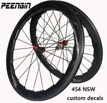 2018 NSW 454 decal 25X58mm Dimple Wheel 700C Road bike full carbon wheelset tubular clincher rims wavy crow's-feet brake surface(China)