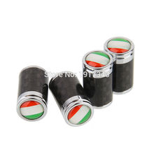 4PCS Car Styling Carbon Fiber Tire Valve Center Caps Auto Parts Wheel Tyre Valve Caps Logo Emblem Italy Italian National Flag