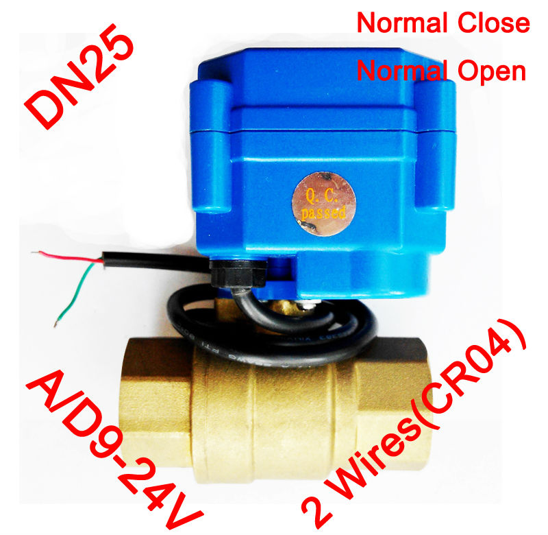 1 Brass electric actuator valve, AC/DC9-24V morotized valve 2 wires (CR04), DN25 Mini Electric valve with spring return<br><br>Aliexpress
