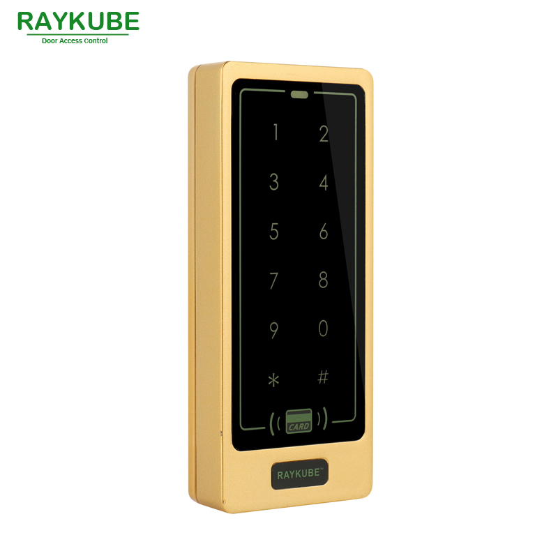RAYKUBE Access Control Keypad RFID 125KHz Metal Case Touch Keypad Waterproof IPX3 R-T01 Glod<br>