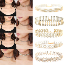 1Pc Boho Crystal Choker Necklace Supernatural Collar Chokers Jewelry Women Clothing Accessories Gold Chain #92105