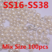 SS16-SS38 Mixed Size 100pcs Ivory Sew On Half Round Pearl with Silver Claw Loose Sewing Pearl Beads For Wedding Dress Decoration