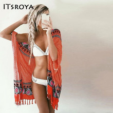 Itsroya 2017 Brand beach dress Coat Sexy Tassel Shawl Female cover ups Wind Bucket Style Sunscreen Beach Blouse Saida De Praia(China)