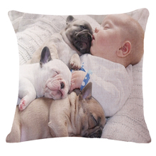 Manufacturers Selling Custom Cute Puppy Baby Pattern Cotton Linen Throw Pillow Bedding Headrest For Home Decor Gifts