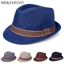 MOLIXINYU New Straw Cap Baby Hats Children Jazz Cap Bucket Hat Sun Cap Summer Hat For Girls Boys Panama Hat Photography Props(China)
