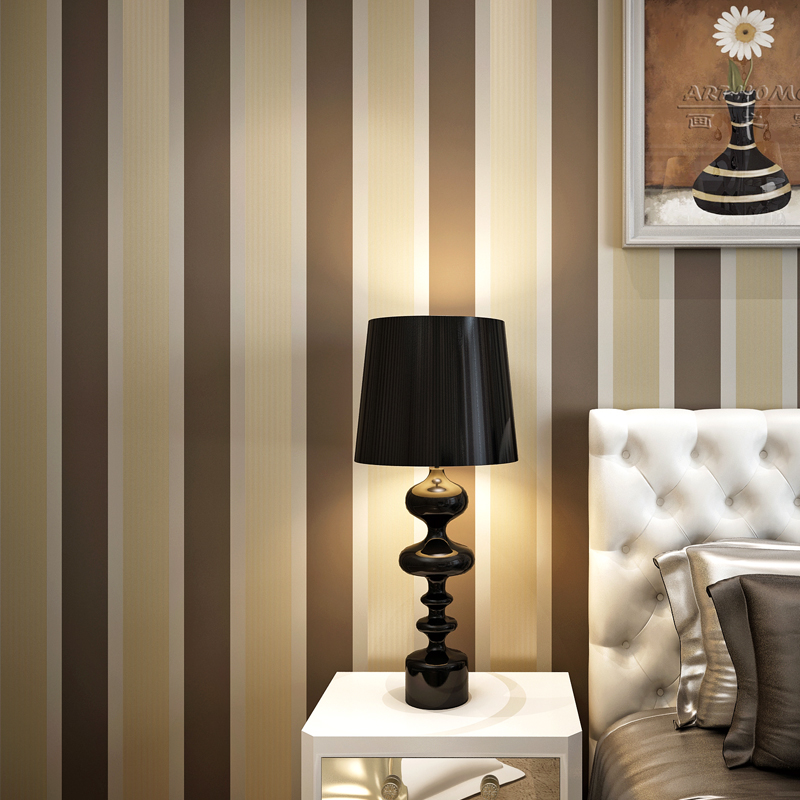 10M Hot Selling ELEGANT SHINY STRIPES EMBOSSED FLOCK TEXTURED NON WOVEN WALLPAPER ROLL 3D Wallpapers<br>