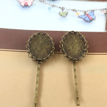 10pcs Antique Bronze Hair Clip Tray Blank Base Hairpin Hollow Lace Bezel Setting for 18*25mm Cabochon Cameo Craft Headwear