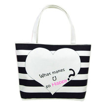 2017 New Fashion Canvas Black and white heart Pattern Shopping Shoulder Bags Handbag Beach Wholesale Free Shipping NOA29