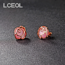 LCEOL  Cute Ear Clip for Little Girls Rose Design Inlay Pink Opal Stone no Ear Hole Earrings with Rubber Pad Rose Gold Earring