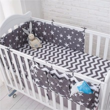 Muslinlife Grey Star Bedding Set,Multi-functional Baby Safe Sleeping Baby Bed Bumpers Set Soft Baby Cot Bed Hanging Storage Bag(China)