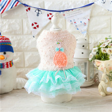 Fleece Short Sleeve Lace Dress Bow Tie Dog Pet Clothes Thicken Soft Winter Pet Chihuahua Jacket Coat Autumn 17ZF55
