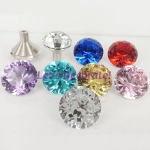 10PCS High Quality Hand-made Knobs 30mm Colorful Diamond Crystal Drawer Knobs/Cabinet Handles With Chrome Base/Crystal Handles(China)