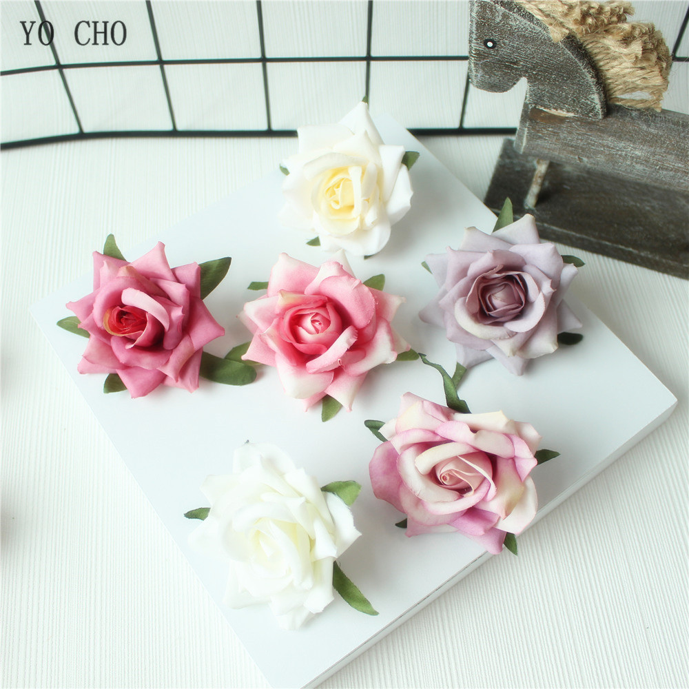 Rose Artificial Flower Head White Pink Silk Peony Wedding Party Decoration DIY Decorative Fake Flower  (24)