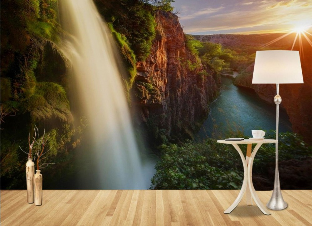 European style Simple Wallpaper For Walls 3 d Photo Wallpaper Forest Waterfall Sky Wallpapers Background Moder 3d Mural <br>